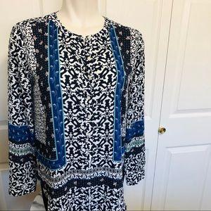 Loft blue patterned boho popover blouse sz. L